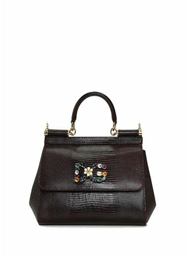 Dolce&Gabbana Dolce&Gabbana Small Sicily Mürdüm Kadın Deri Omuz Çantası 101557082 Mürdüm